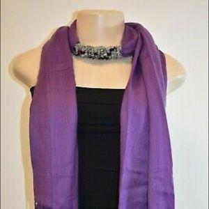 Designer Purple Beaded Collar Pashmina Long Scarf
